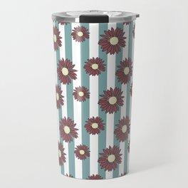 Echinacea Striped Floral Print Travel Mug