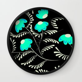 Retro . Turquoise flowers on a black background . Wall Clock