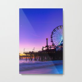 Beautiful Santa Monica Pier Sunrise California Beach Purple Sunset Gift for Beach Lovers  Metal Print