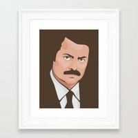 ron swanson Framed Art Prints featuring Ron Swanson by CheekyMonkeyArt