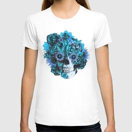 Full circle...Floral ohm skull pattern T-shirt