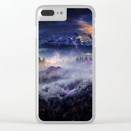 Distant Worlds Forests misty and fog Clear iPhone Case