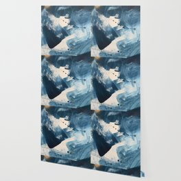 Against the Current: A bold, minimal abstract acrylic piece in blue, white and gold Wallpaper