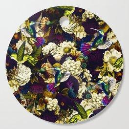 hummingbird paradise ethereal autumn flower pattern fn Cutting Board