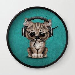 Cute Kitten Dj Wearing Headphones on Blue Wall Clock