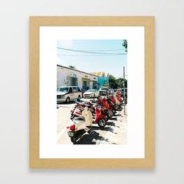 Line of bikes Framed Art Print