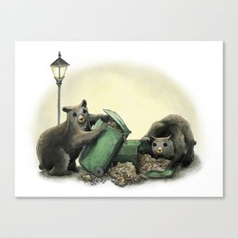 Critters Eating Garbage # 1 Canvas Print