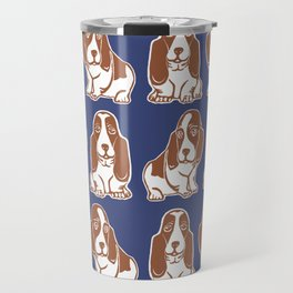 Basset Hounds Pattern in Navy and Brown Travel Mug