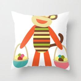 Sock Monkey Easter Eggs Easter Basket Throw Pillow
