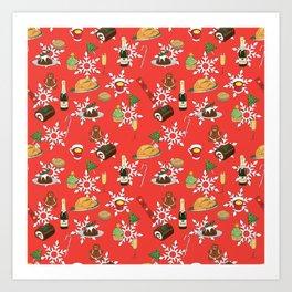 Christmas food festive pattern Art Print