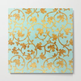 Golden Damask pattern Metal Print