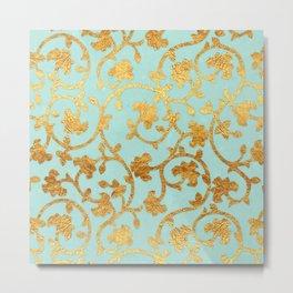 Golden Damask pattern Metal Print