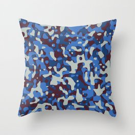 Blue & Burgandy Camo Pattern Throw Pillow