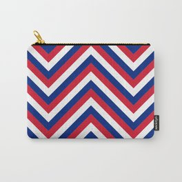 UK Union Jack Red White and Blue Jumbo Chevron Stripes Carry-All Pouch