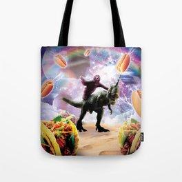 Space Sloth Riding Dinosaur Unicorn - Hotdog & Taco Tote Bag