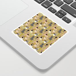 Floral French Bulldog Sticker
