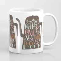 coffe Mugs featuring COFFE & LOVE by Matthew Taylor Wilson