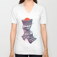 rave V-neck T-shirts featuring Rave Machine by Cam Floyd Illustration