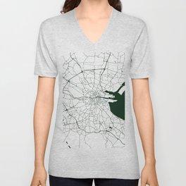 White on Dark Green Dublin Street Map Unisex V-Neck