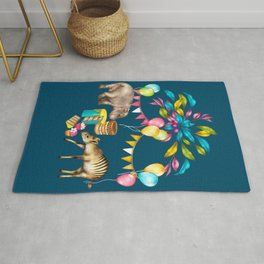 Africa is My Happy Place - a tropical west Africa inspired toile pattern Rug