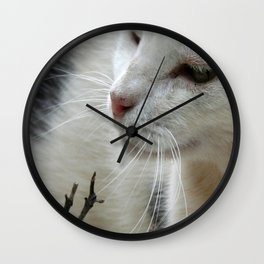 Close Up Of A Piebald Cat Wall Clock