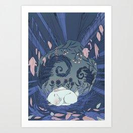 White Rabbit Sleeping Art Print