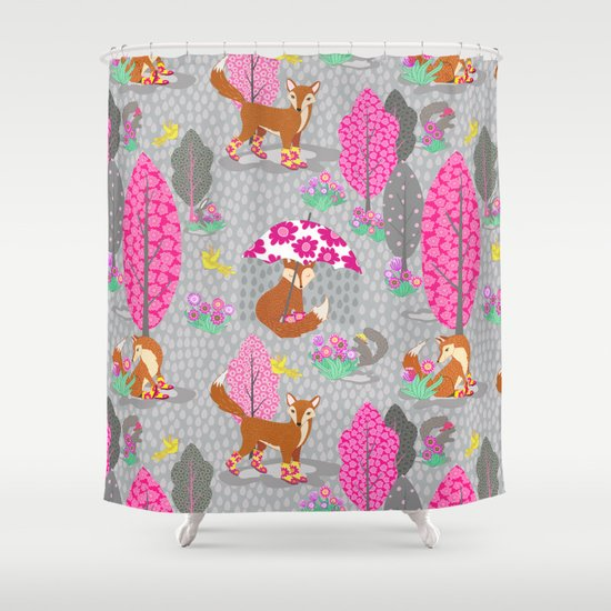 Foxes In Galoshes Pink And Gray Shower Curtain By Shelly Penko Society6
