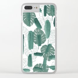 Modern green white watercolor tropical floral brushstrokes Clear iPhone Case
