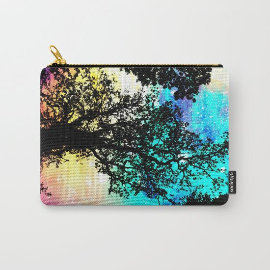 Black Trees Colorful Space bright Carry-All Pouch