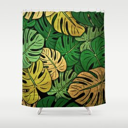 Grunge Monstera Leaves Shower Curtain