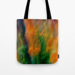 Fleur Blur-Abstract Orange Safflowers & Green Leaves Tote Bag