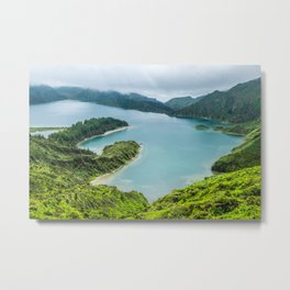 Lake in the mist, Azores, Portugal Metal Print