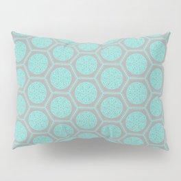 Hexagonal Dreams - Grey & Turquoise Pillow Sham