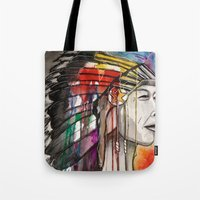 native american Tote Bags featuring Native American by Hannah Brownfield Camacho