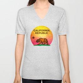 Vintage Retro Eighties California Republic T-Shirt Unisex V-Neck