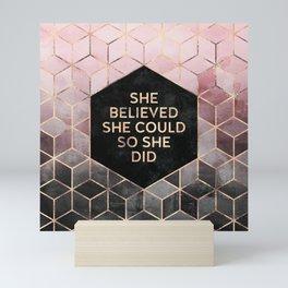 She Believed She Could - Grey Pink Mini Art Print