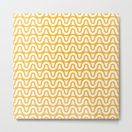 Wavy Outlines in Gold Metal Print