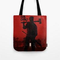 evil dead Tote Bags featuring The Evil Dead by Bill Pyle