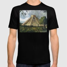 Mayan Pyramid MEDIUM Black Mens Fitted Tee