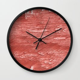 Brick red nebulous wash drawing paper Wall Clock