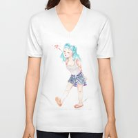 turquoise V-neck T-shirts featuring Turquoise by Thays Oyakawa