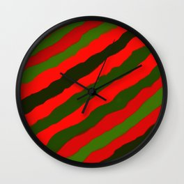 Merry Red Green Holiday Stripes Wall Clock