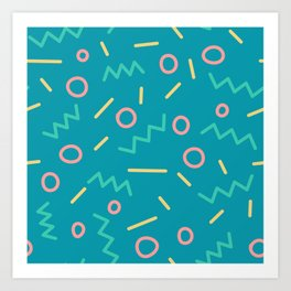 Corky - Blue + yellow Art Print