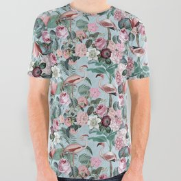 Flamingo Paradise All Over Graphic Tee
