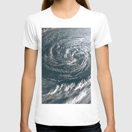 Hurricane on Earth viewed from space. Typhoon over planet Earth. T-shirt