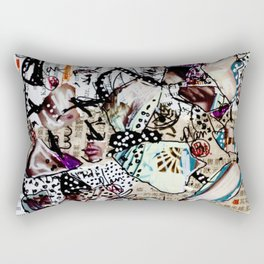 Doll Parts - Magazine Collage Painting Rectangular Pillow