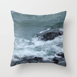Rocky Shore with Waves Throw Pillow