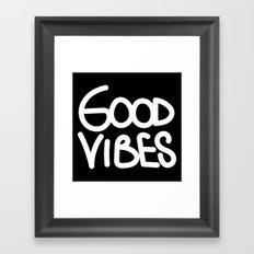 Good Vibes Handwriting White On Back Framed Art Print