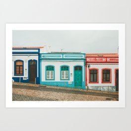 Turquoise Blue and Red Houses in Lagos, Portugal Art Print