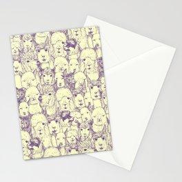 just alpacas purple cream Stationery Cards